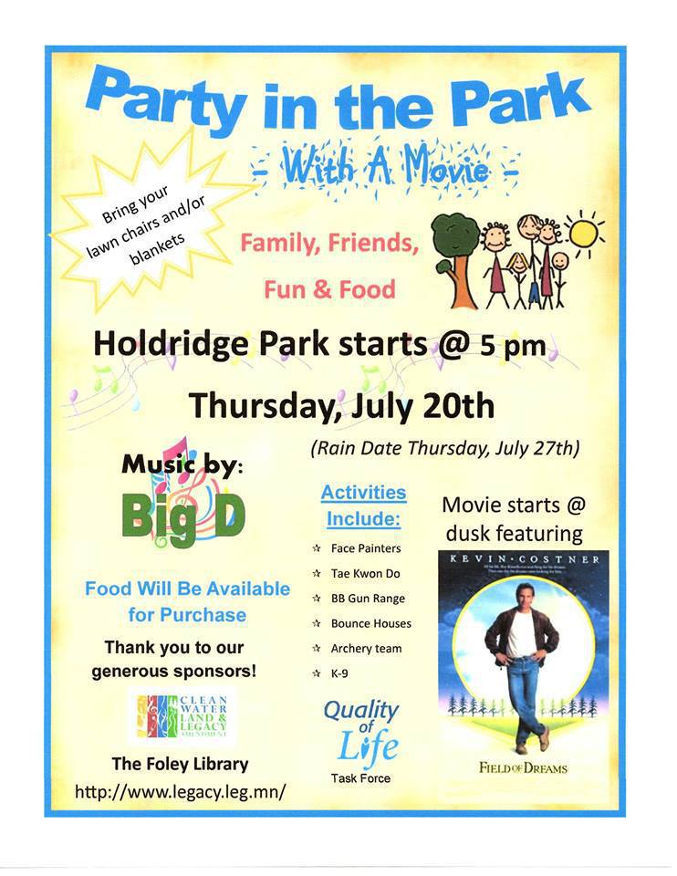Party in the Park, Thurs., July 20, 2017. Holdridge Park at 5pm.