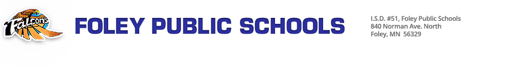 Foley Public Schools, Foley, MN website header. July, 2015