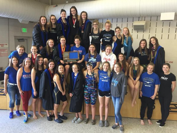 Foley Falcon Swim & Dive Team is the Granite Ridge 2017 Conference Champions! Oct. 2017.
