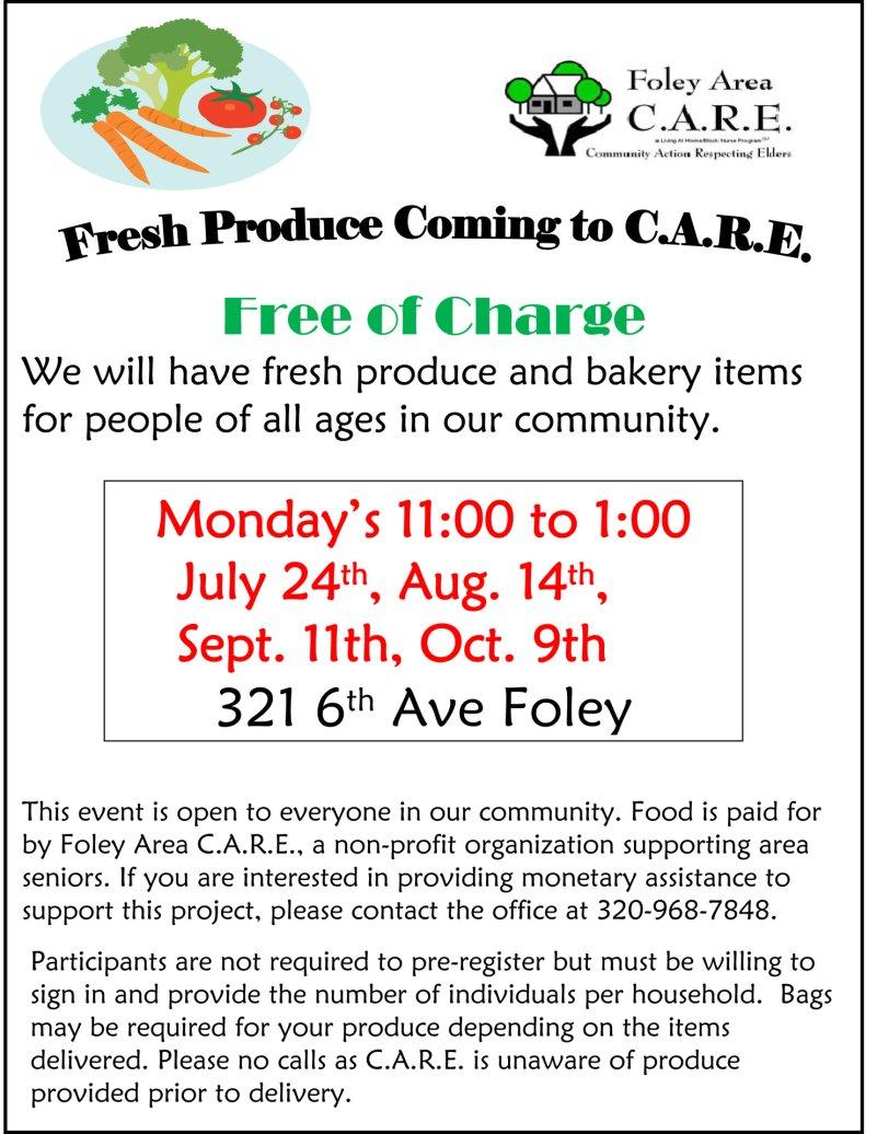 Fresh produce coming to Foley C.A.R.E., Mondays, Aug. 14, Sept. 11, Oct. 9, 2017