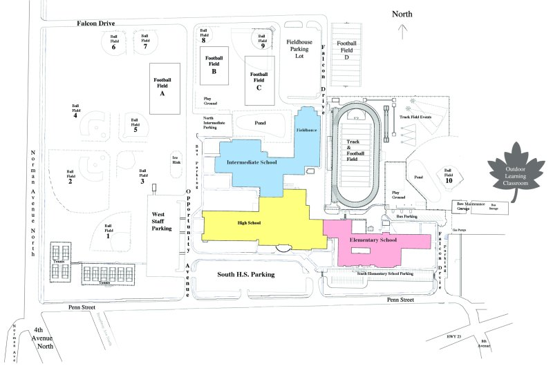 Map of Foley Public Schools campus