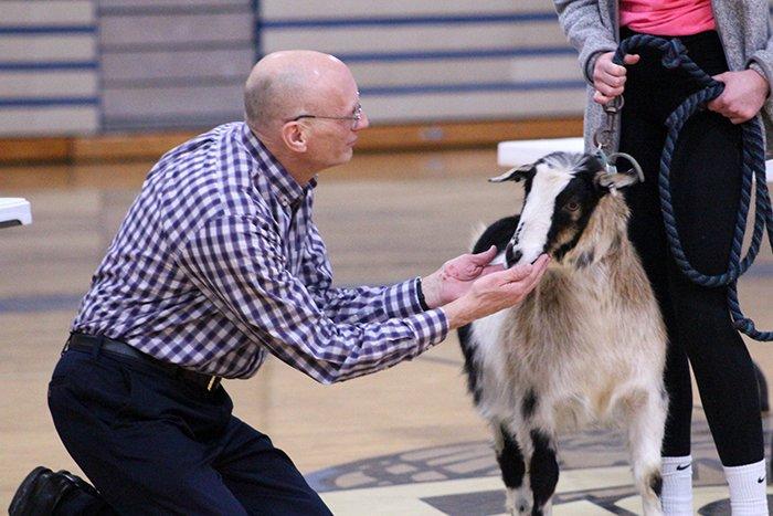 "Mr. Voeltz puckering up during Snow Week's ""Kiss the Goat"" segment!"