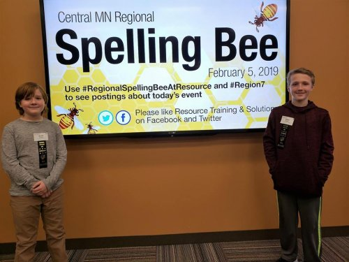 Foley Intermediate students Scott Thielen and Noah Brunn competed in the Regional Spelling Bee in Sartell.