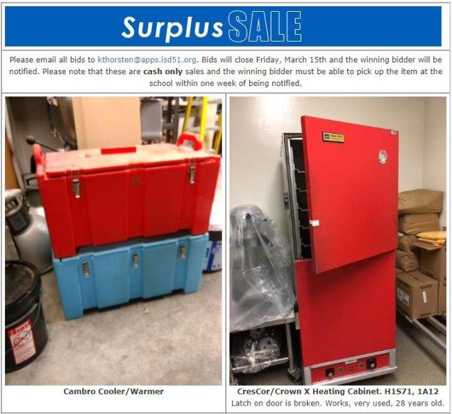 Surplus Items for Sale