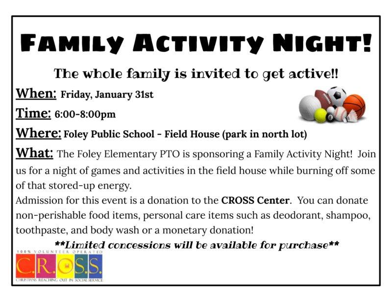 Family Activity Night - January 31st from 6-8pm