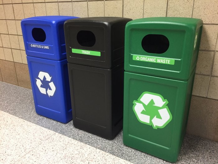Trash and recycling area in the hallways of Foley High School.